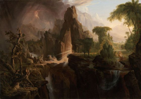Cole, Thomas: Expulsion From the Garden of Eden, 1828. Religious/Biblical Landscape Fine Art Print/Poster (379)